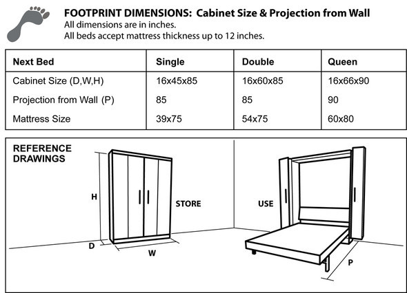 Cabinet dimensions next bed euro wallbed system ccuart Gallery
